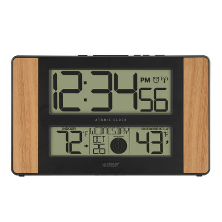 La Crosse Technology 513-1417 Atomic Digital Clock with Temperature and Moon Phase, Oak finish