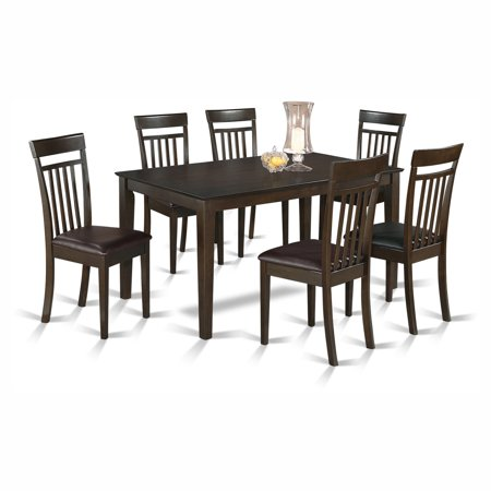 piece rectangular dining table set with faux leather seat chairs