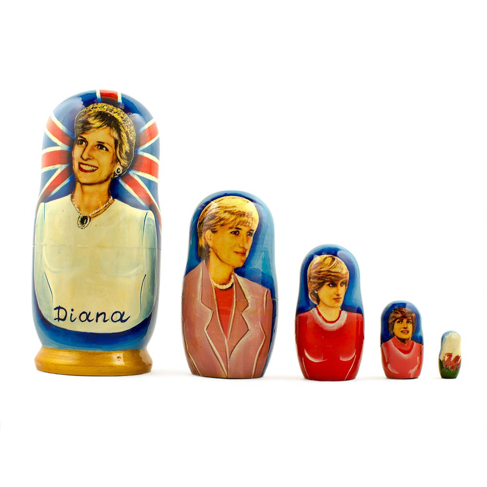 "5"" Set of 5 Princess Diana Wooden Nesting Dolls"