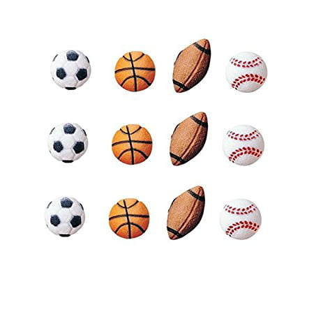 Ball Party Favors - Sports Balls Sugar Decorations Toppers Party Favors Cookie Cupcake Cake 12 Count