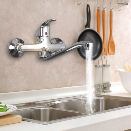 Wall Mount Bathroom Sink Faucet Cold Hot Water Mixer Tub Tap For Rv