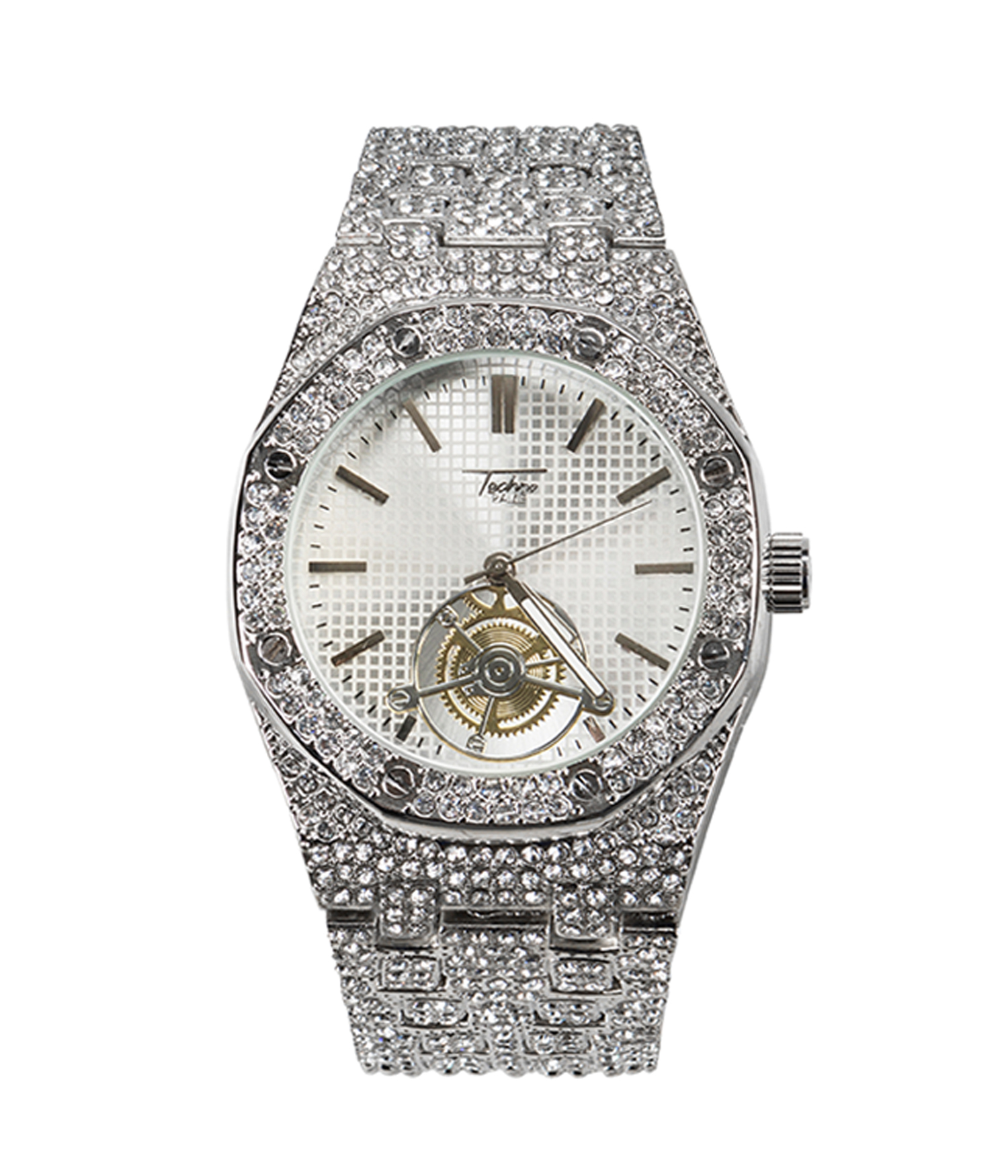 Techno Pave Mens Iced Out Bezel Silver Watch With Simulated Diamonds Silver Silver Walmart Com