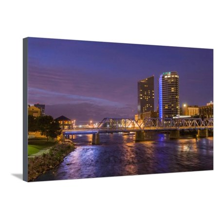 Skyline at dusk, Grand Rapids, Michigan, USA Stretched Canvas Print Wall Art By Randa Bishop - Grand Rapids Halloween Usa