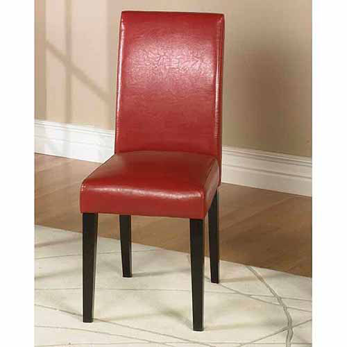 Armen Living Red Bonded Leather Side Chair Md-014 - Set of 2