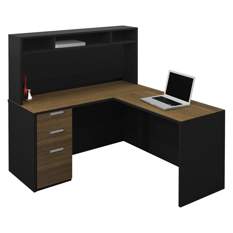 Bestar Pro-Concept L-Shaped Workstation with Small Hutch ...