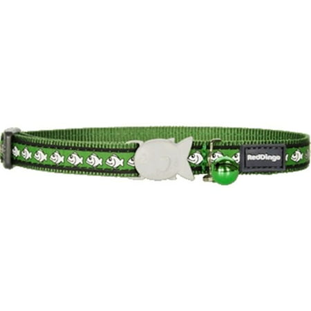 Red Dingo Reflective Fish Patterned Cat Collar, Green Fish Tropical Cat Collar