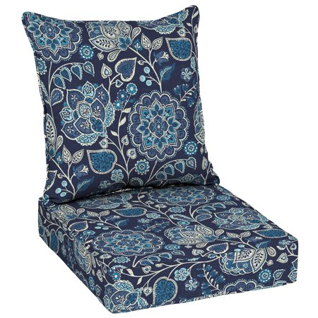 Better Homes & Gardens Jacobean Blue Floral 48 x 24 in. Outdoor Deep Seat Cushion Set with EnviroGuard
