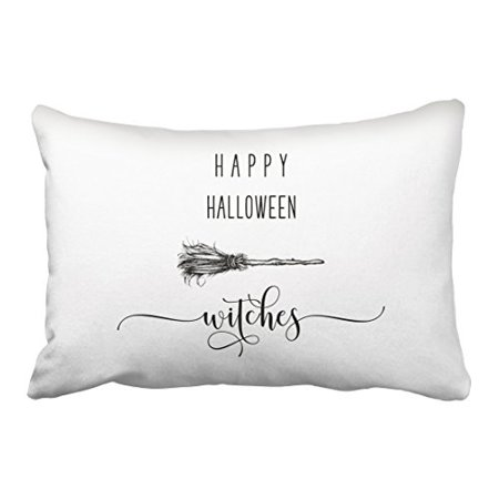 Simple Halloween Witch Drawing (WinHome Vintage Happy Halloween Witch Broom Pencil Drawing Pattern Polyester 20 x 30 Inch Rectangle Throw Pillow Covers With Hidden Zipper Home Sofa Cushion Decorative)