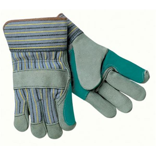 MCR 127-1411A Dbl Leather Palm Glove Blue  with  Elastic Sew