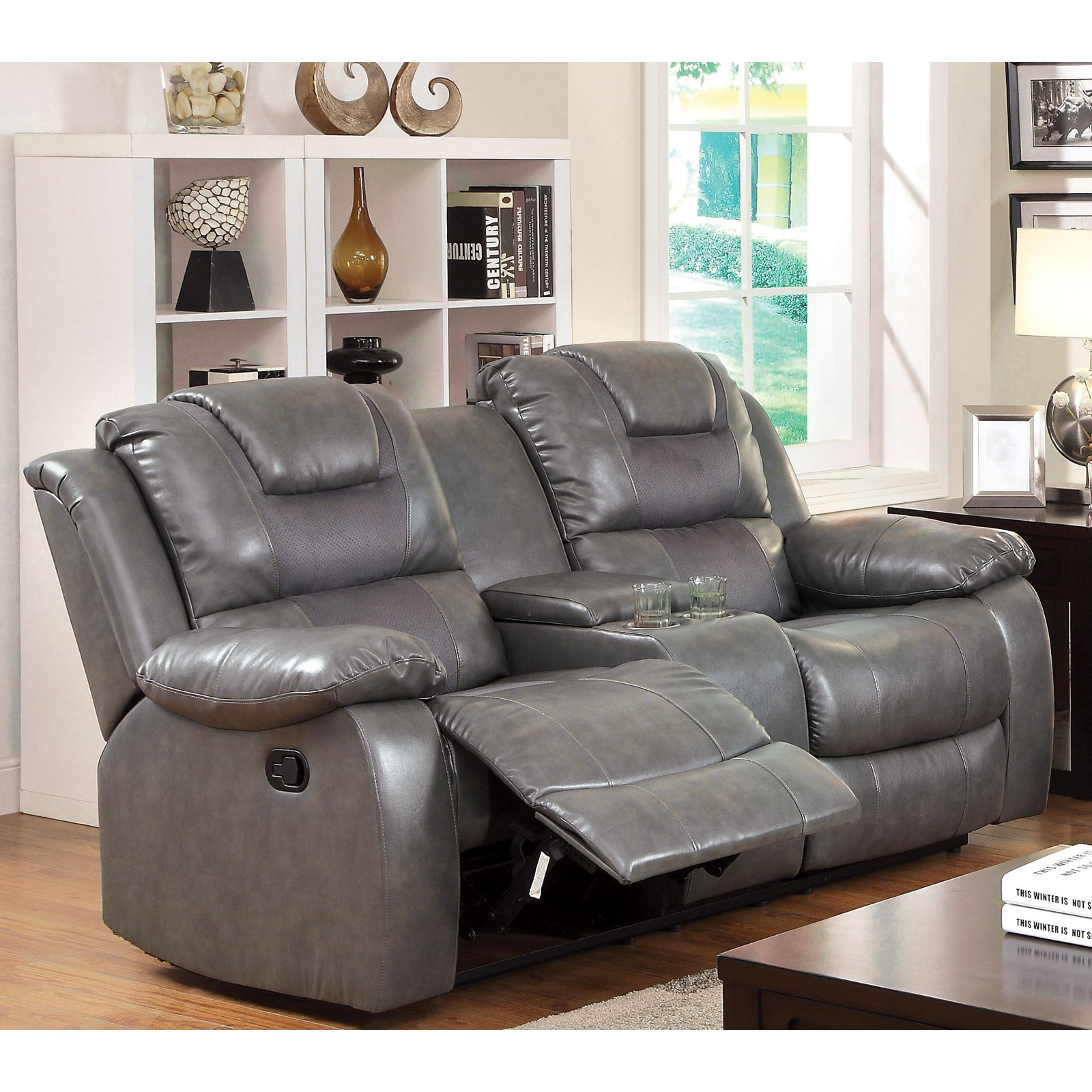 Furniture of America Claybrooks Recliner Loveseat with Center Console
