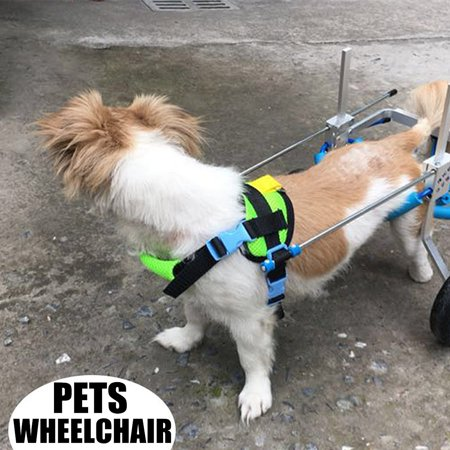 Aluminum Cart Pet/Dog Wheelchair Traction Rope Handicapped Cat Dogs Hind Legs Doggie Puppy Walk Height/Length/Width Adjustable