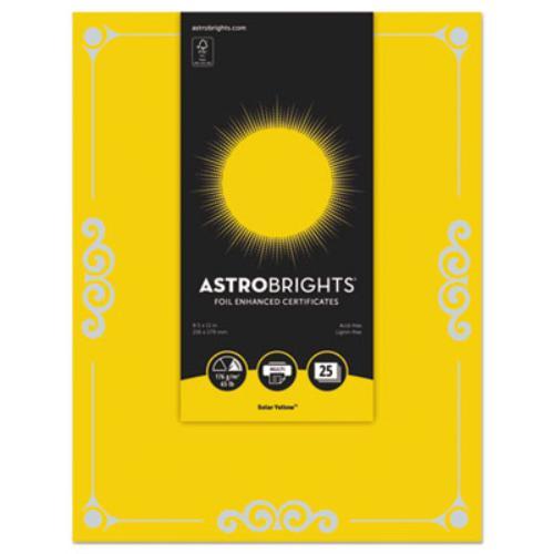 "Neenah Paper 91096 Foil Enhanced Certificates, 8 1/2"" X 11"", Solar Yellow, 25/pk"
