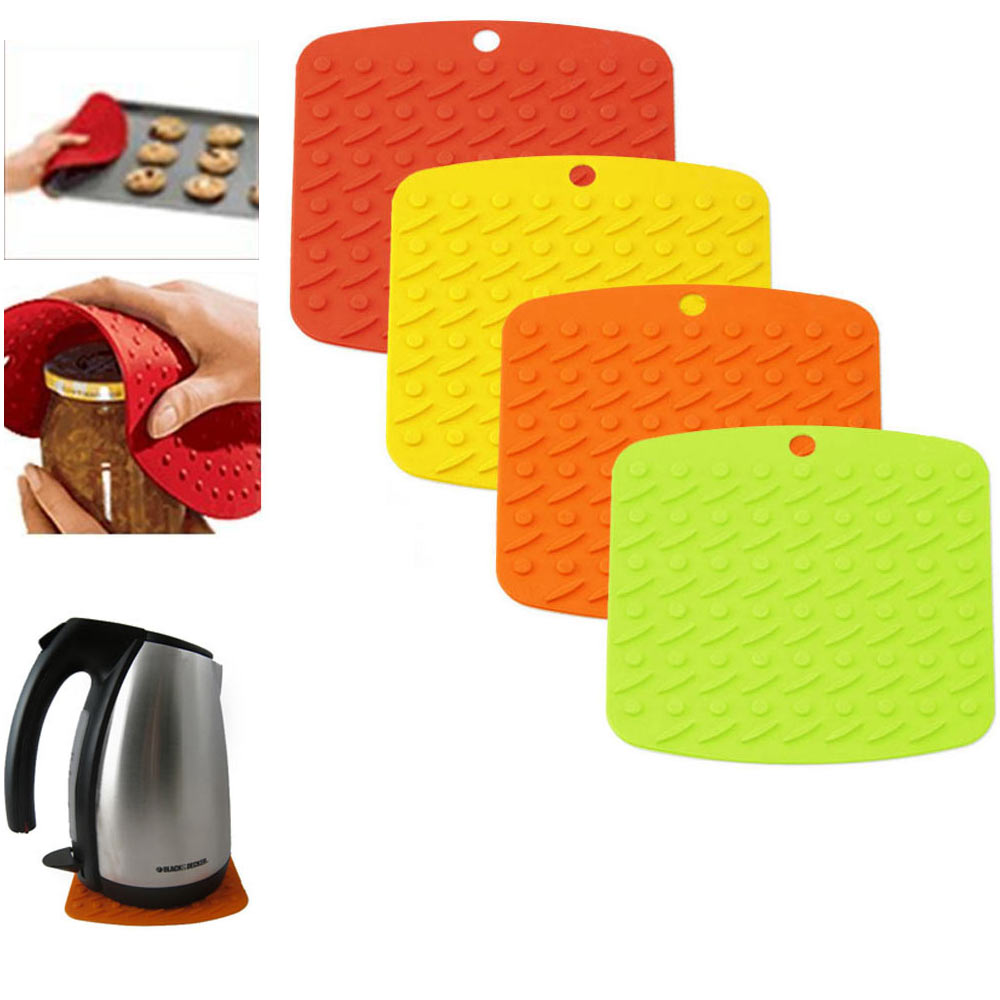 1 Silicone Pot Holder Jar Opener Potholder Trivet Heat Flame Resistant 3in1 Gift