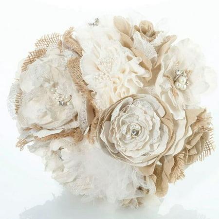 Lillian Rose Burlap and Flower Wedding Bouquet