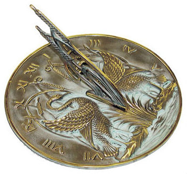 Rome Rome Brass Swan Sundial Solid Brass withVerdigris Highlights by