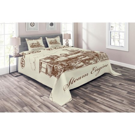 Steam Engine Coverlet Set, Old Times Train Vintage Hand Drawn Iron Industrial Era Locomotive, Decorative Quilted Bedspread Set with Pillow Shams Included, Ivory Pale Caramel, by