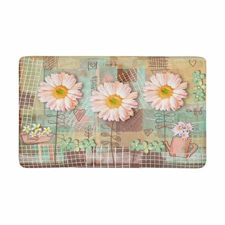 MKHERT Elegance Floral Country Postcard with Pink Gerbera Daisy Flowers Doormat Rug Home Decor Floor Mat Bath Mat 30x18