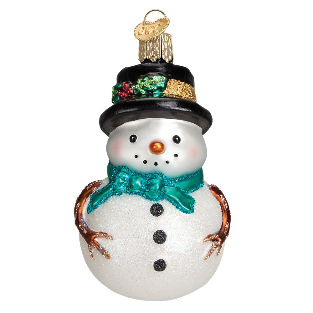 Old World Christmas 24159 Holly Hat Snowman with Blue Scarf