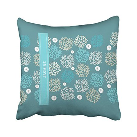 WinHome Square Throw Pillow Covers Retro Coral Reef And Sand Dollar Beach Theme Personalize Customizable Pillowcases Polyester 18 X 18 Inch With Hidden Zipper Home Sofa Cushion Decorative (Coral Square 8)