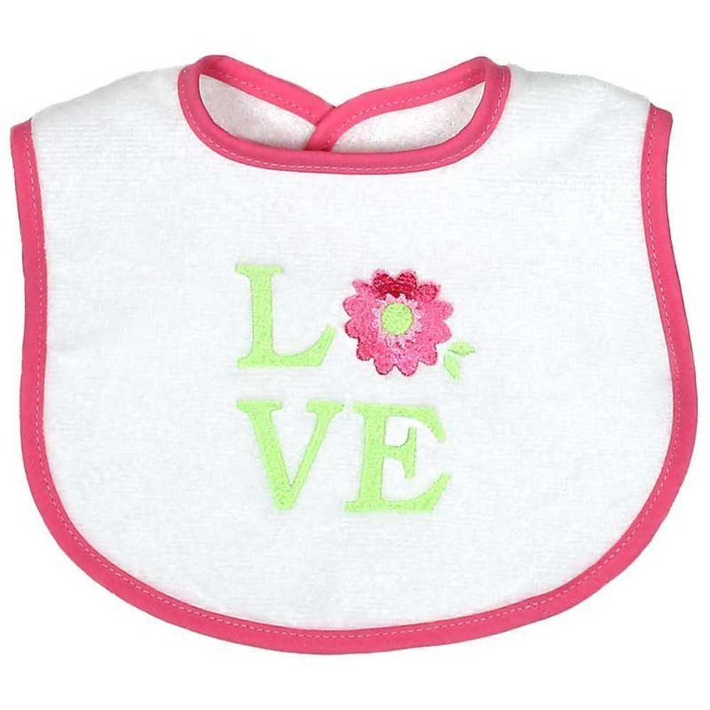 "Raindrops Baby Girls ""Love"" Embroidered Bib, Pink by Raindrops"