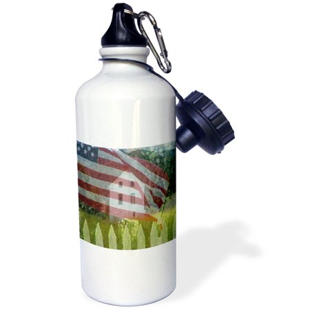 3dRose Old Historical LDS Church in Pine Valley, Utah with a faded American Flag and Picket Fence, Sports Water Bottle, 21oz