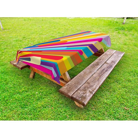 Vintage Rainbow Outdoor Tablecloth, Burst of Vibrant Colored Lines Funky Graphic Disco Design from the Sixties, Decorative Washable Fabric Picnic Table Cloth, 58 X 84 Inches,Multicolor, by Ambesonne