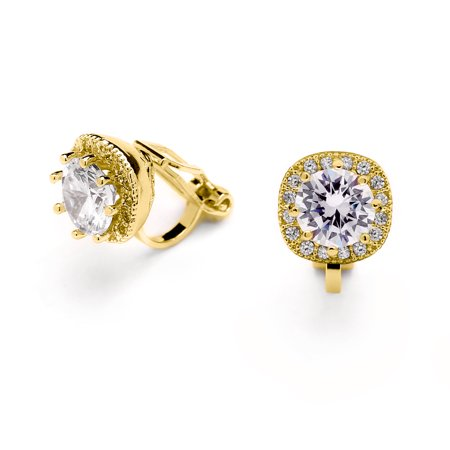 Mariell 14K Gold Plated Clip On CZ Stud Earrings - Cushion Shape 10mm Halo Round Cut Nonpierced Jewelry