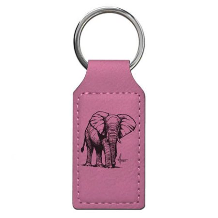 Personalized Basketball Keychains (Keychain - African Elephant - Personalized Engraving Included (Pink)