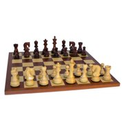 Old Russian Rosewood Double-Weighted Chess Set on Mahogany Board