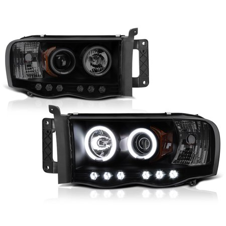 [For 2002-2005 Dodge RAM 1500 2500 3500] CCFL Halo Ring Smoke Projector Headlight Headlamp Assembly, Driver & Passenger Side ()