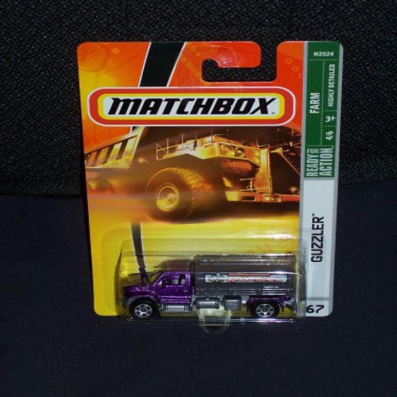 Matchbox 2008 67 Farm Series 4 of 6 Guzzler Purple and Gray Tanker Truck by Mattel