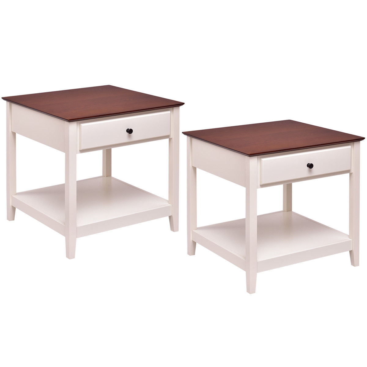 Costway Set of 2 Wood Side Table End Table Night Stand Coffee Table with Drawer & Shelf - image 9 de 9