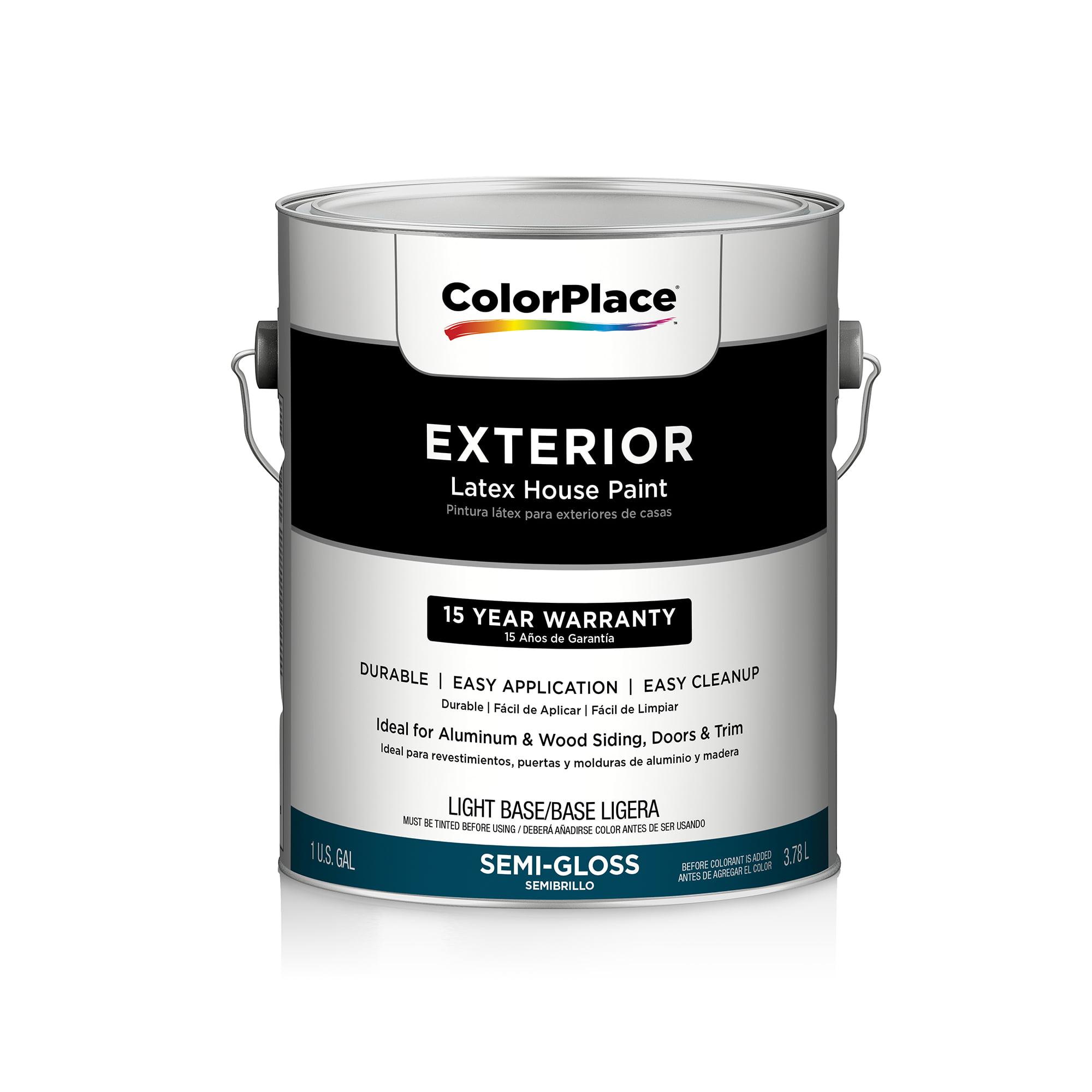 Color Place Exterior Semi-Gloss Paint, Light Base