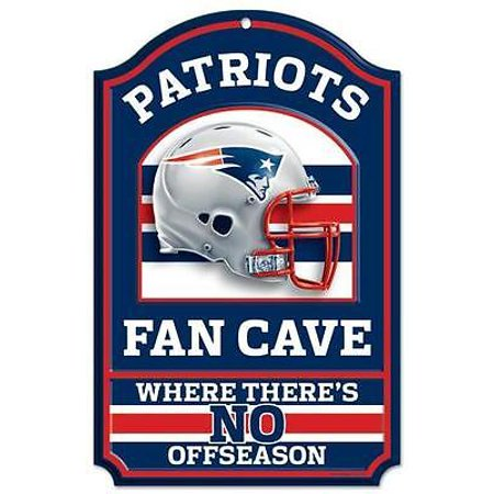 Nfl Pub Sign - New England Patriots Official NFL 11 inch  x 17 inch  Wood Sign by Wincraft