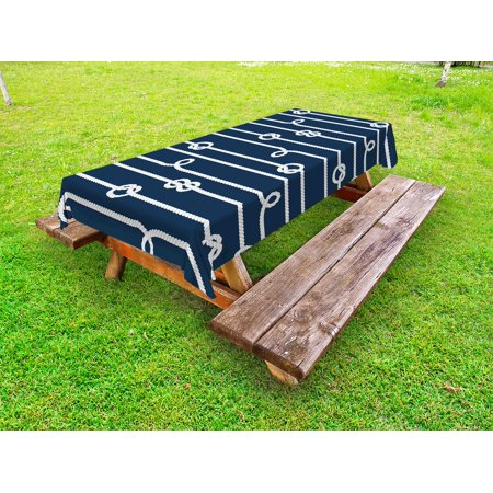 Navy Blue Outdoor Tablecloth, Horizontal Marine Knots Ropes Figures Undone Bowline Sailor Sailing Theme, Decorative Washable Fabric Picnic Table Cloth, 58 X 84 Inches,Blue and White, by Ambesonne