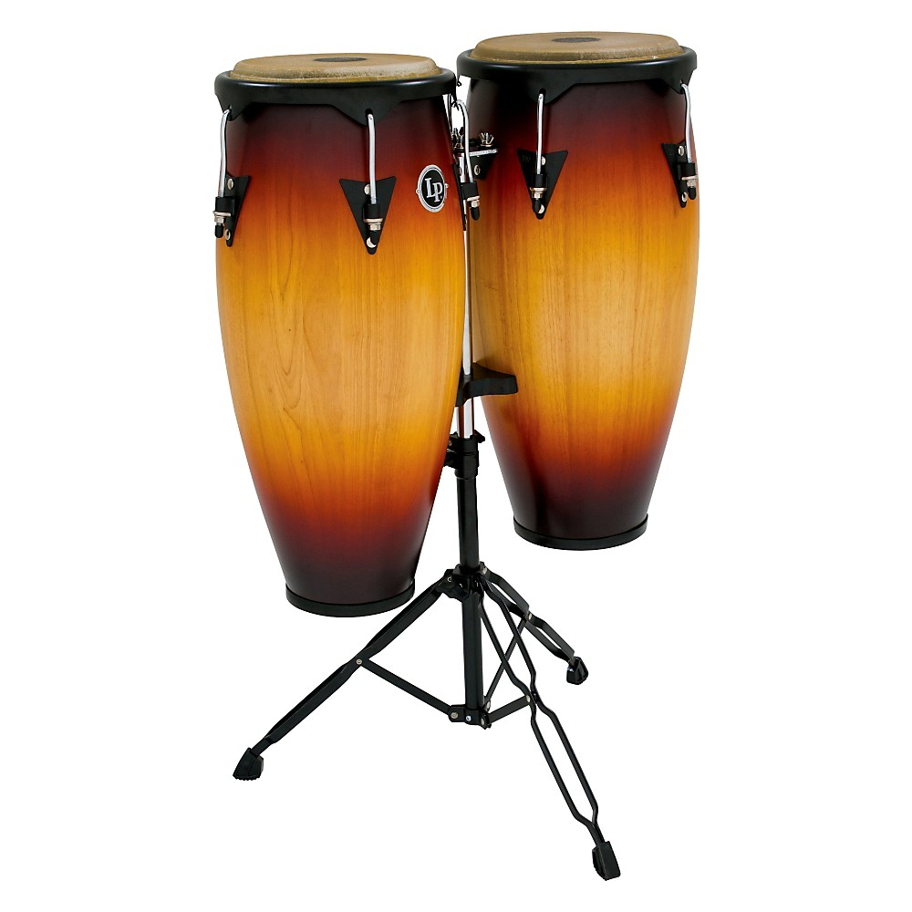 LP City Conga Set with Double Stand Vintage Sunburst 10 in. and 11 in.