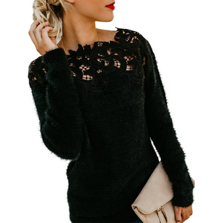 Women's Plus Size Lace Tops Long Sleeve Knitted Pullover Patchwork Sweaters Lace Silk Sweater
