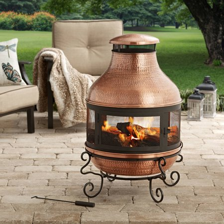 Better Homes And Gardens 39 Tall Copper Hammered Chiminea Fire Pit