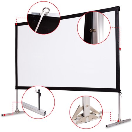 """GYMAX Ecran de Projecteur à Pieds 120"""" Écran de Projection avec Support Pliable Toile Cinéma Maison pour Intérieur ou Extérieur - image 5 de 10"""