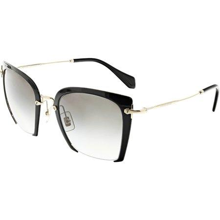 Miu Women's Gradient MU52RS-1AB0A7-52 Black Semi-Rimless Sunglasses ()