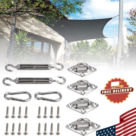 ESYNIC 8Pcs Stainless Steel Sun Sail Shade Canopy Fixing Fittings Hardware Accessory Kit ()
