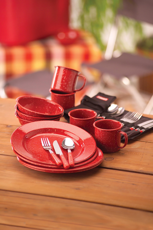 Coleman 24-Piece Enamel Dinnerware Set Red