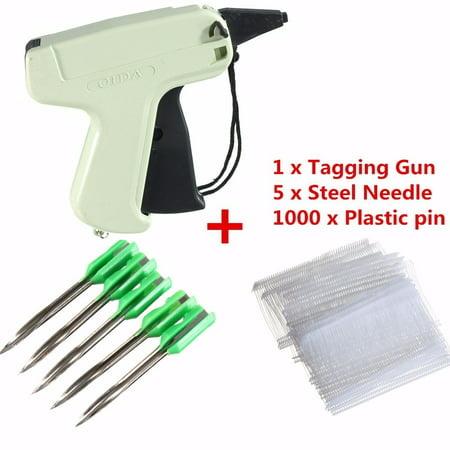 Tags Gun Clothes Garment Price Label Tagging Machine with 1000 Barbs + 5 Needles This Tagging Gun with 1000 attachment fasteners and 1  long needle is ideal for all of your light weight, medium weight and heavy weight tagging applications. Designed for use with fabrics including wool, linen, cotton, denim, polyester, synthetic, natural, and others fabrics. Not for use on silk, fine, or delicate fabrics. NOTE: Please allow some errors of manual measurement, thank you for your understanding! Features: 1. Tag attaching gun, with steel needle and plastic pin. 2. Use in attaching barcode or price tags to clothing. 3. Simple use, smaller more comfortable grip, druable. 4. Save manpower, reduces the cost. Specifications: Material: Plastic and metal Gun Weight: About 130g Length Of Plastic Pin: 50mm Package Includes: 1 x Tagging Gun 5 x Steel Needle