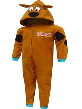 Scooby Doo Boys' Scooby Doo Hooded Fleece One Piece Pajamas