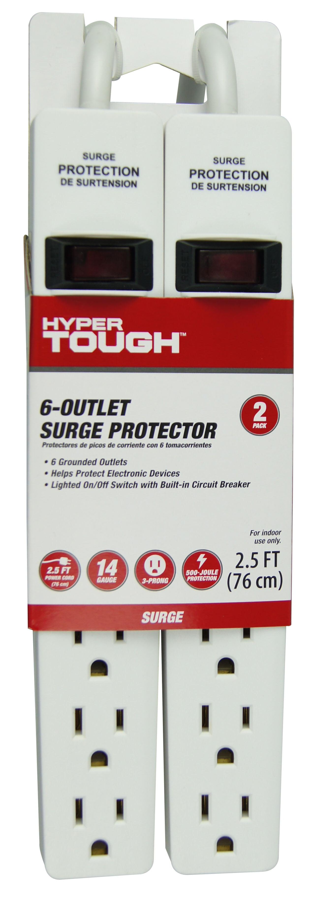 Hyper Tough 2 Pack 6-Outlet 2.5FT Surge Protector, White by KAB Enterprise Co., Ltd.