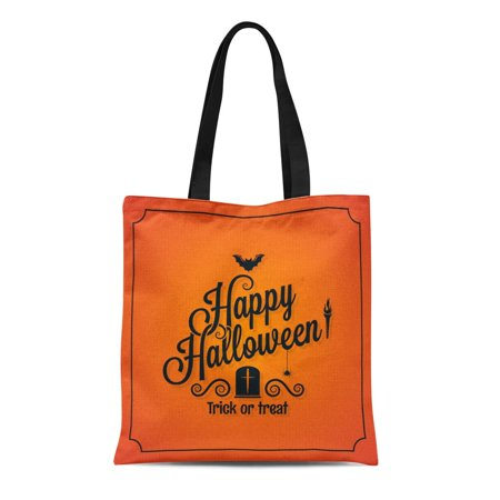 SIDONKU Canvas Tote Bag Orange Day Halloween Ornate Event Happy Retro Autumn Bat Durable Reusable Shopping Shoulder Grocery Bag](Brisbane Halloween Events)