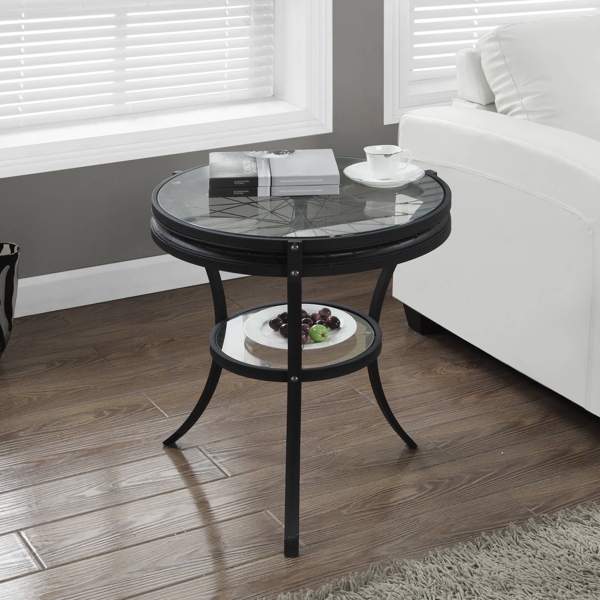 "20"" Accent Table with Tempered Glass, Hammered Black by Monarch Specialties Inc"