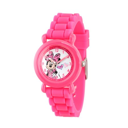 Minnie Mouse Girls' Pink Plastic Time Teacher Watch, Pink Silicon Strap - Pink And Black Minnie Mouse Tutu