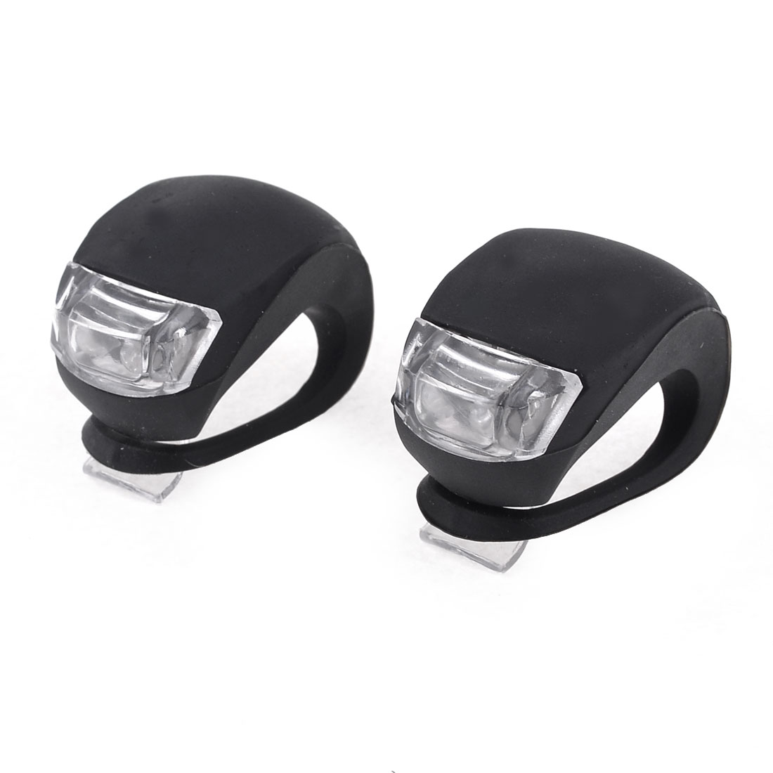 Battery Powered White Two LED 3 Mode Elastic Bicycle Bike Head Light Lamp 2pcs