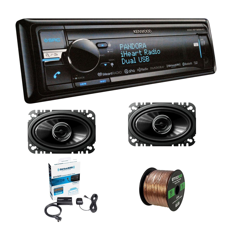 "Kenwood KDC-BT958HD CD Player Receiver Bluetooth HD Radio USB Siriusxm With Pioneer TSG4645R 4x6"" 2-Way 200W Car Speakers (2-Pairs), Enrock Audio 16G 50' Wire & Sirius SXV300-V1 Satellite Radio Tuner"